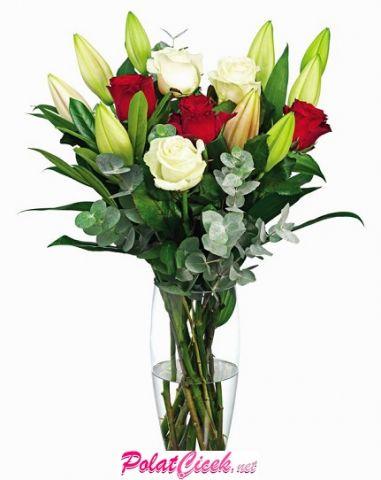 Vazoda Kırmızı Beyaz Gül & Lilyumlar