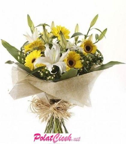 Sarı Gerberalı Lilyum Buket